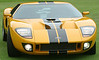 Ford GT40 supercar : I was able to photograph this jaw-dropping yellow car up close and personal at Concorso Italiano in Carmel, in the fall of 2002.  The blue one came from popularmechanics.com.